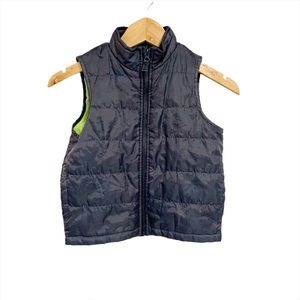 London Fog Puffer Vest Gray Green Zip Up Size 4t